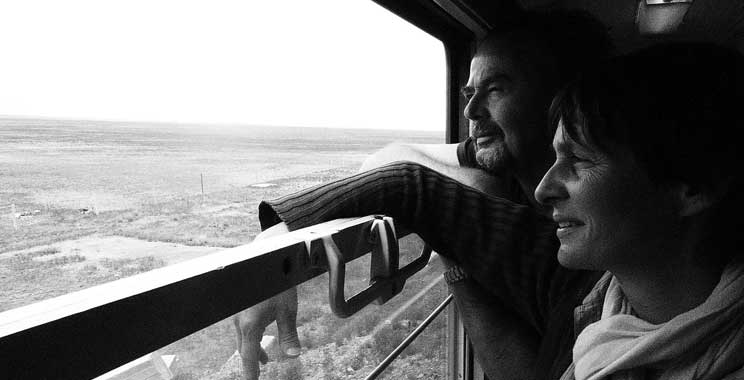 Christine and Gary contemplate overlooking the Gobi desert