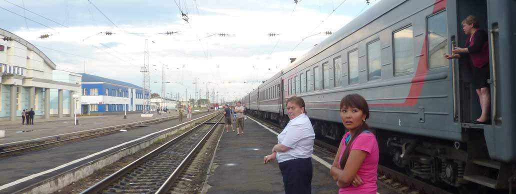 Train stop middle of Russia