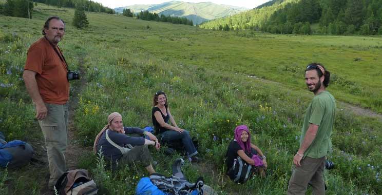 Gary, Christine, Tamar, Lae and Guillaume in Gorkhi-Terelj National Park, Mongolia
